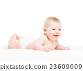 Portrait of a cute smiling infant baby 23609609