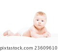 Portrait of a cute smiling infant baby 23609610