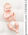 Portrait of a cute smiling infant baby 23609613