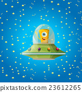 alien spaceship . orange alien in space vector. 23612265