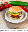 homemade hamburger with fresh vegetables, close up 23613669