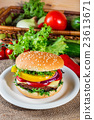homemade hamburger with fresh vegetables 23613671