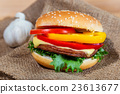 homemade hamburger with fresh vegetables, close up 23613677