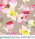 Strawberry flowers seamless pattern watercolor. 23618723