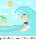 The man surfing on the ocean.  23622450