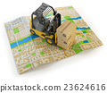 Forklift with cardboard boxes on the city map 23624616