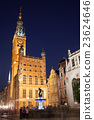 Gdansk Town Hall and Neptune Fountain by Night 23624646
