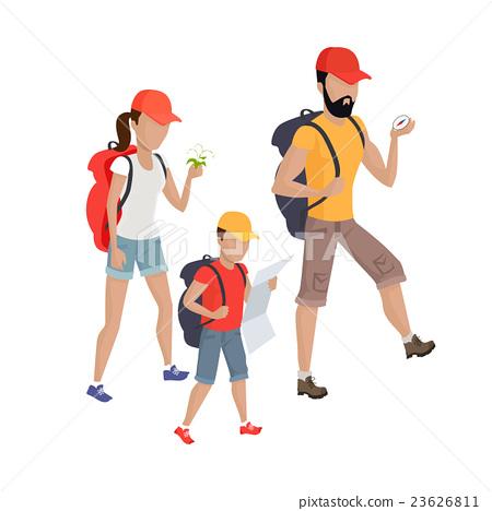 family hiking concept illustration �������� 23626811
