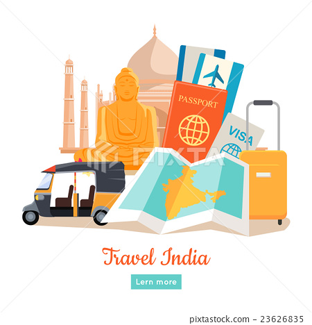 Stock Illustration: Travel India Conceptual Poster