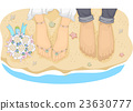 Beach Wedding Couple Feet 23630777