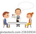 餐廳形象(服務員提供飲料和男女情侶·帶球機) 23630934