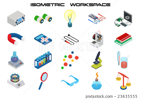 Isometric science icons with 3D design 23635555