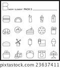 Bakery line icons set.Mono icons pack 3. 23637411