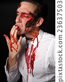 Psychopath with bloody fingers 23637503
