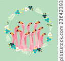 Flamingo with Tropical Flowers Background 23642393