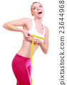 Fitness woman fit girl with measure tape measuring her bust 23644968