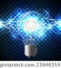 Realistic lightning bolt on blue background. 23646354
