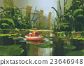 toy boat sailing on river in forest 23646948