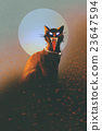 evil cat on a background of the moon 23647594