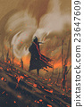 man in black cloak standing against burning forest 23647609