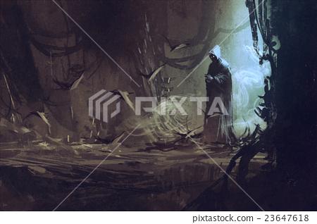dark cloak in mysterious forest 23647618