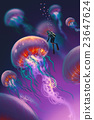 jellyfishes and diver in fantasy underwater 23647624