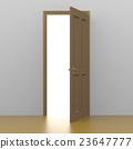 연 갈색 문에서 희망의 빛이 비추는 이미지의 3D 렌더링 이미지 23647777