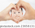 cute and smiling infant  with parents love hands 23656131