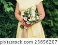 Beautiful wedding bouquet in hands of the bride 23656207
