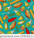 Food seamless pattern background. Meal and spices 23658221