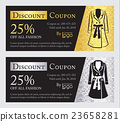 Fashion discount coupon with jacket illustration 23658281