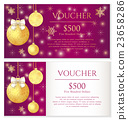 Purple Christmas voucher with Christmas balls 23658286