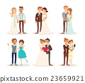 cute wedding couple bride and groom cartoon 23659921