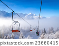 Ski lifts at Vogel mountains in winter, Slovenia. 23660415