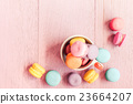 Macaron on wood table, Vintage style. 23664207