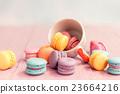 Macaron on wood table, Vintage style. 23664216