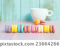 Vintage colorful  macarons on pink wooden   23664266