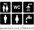 set of WC signs with shower and tap 23664424