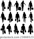 mans and womans with bags and packages on whit 23666523