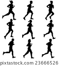 Set of silhouettes. Runners on sprint, men 23666526
