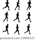 Set of silhouettes. Runners on sprint, men. 23666527