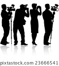 Cameraman with video camera. Silhouettes 23666541