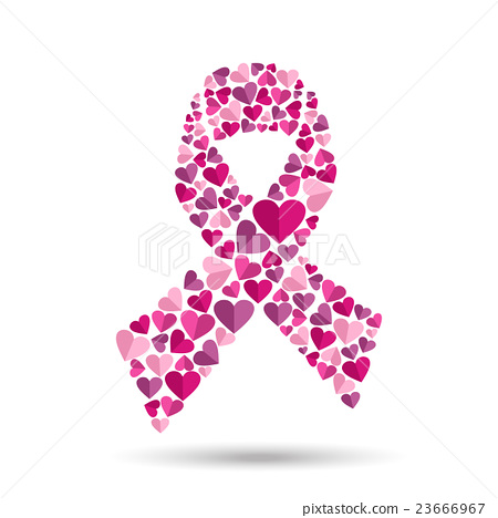 Pink Ribbon Design With Heart For Breast Cancer Stock Illustration