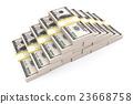 Stack of 100 dollars USA on white background. 23668758