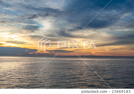 Photo of tropical sky at sunset.Seascape. Sun in 23669183