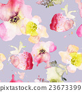 Strawberry flowers seamless pattern watercolor 23673399