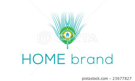 Peacock Feather Vector Logo Template Home Decor Stock