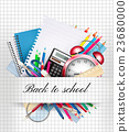 Back to school. Background with supplies. Vector 23680000