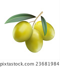 Green olives isolated on white background 23681984
