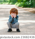 cute little emotional boy outdoors 23682436